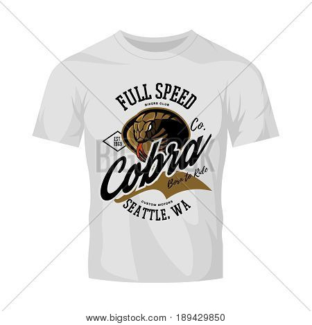 Vintage American furious cobra bikers club tee print vector design isolated on white t-shirt mockup.  Seattle street wear mascot t-shirt emblem. Premium quality wild snake superior logo concept illustration.