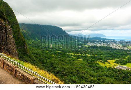 Pali lookout on Oahu island in Hawaii
