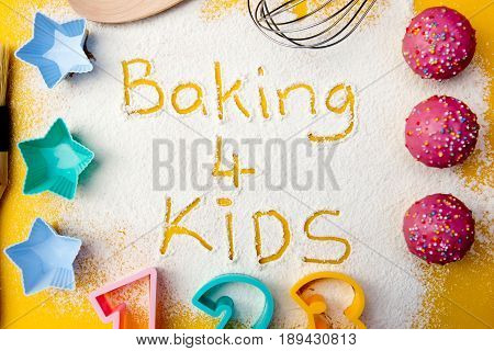 Baking 4 Kids - flour writing with baking shapes