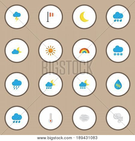 Climate Flat Icons Set. Collection Of Frosty, Shower, Storm And Other Elements. Also Includes Symbols Such As Rainbow, Cloud, Drop.