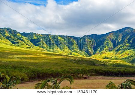 View of Hawaiin landscape along Route 93, near Kaena Point. Oahu island, Hawaii.