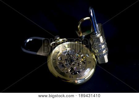 time and security with an old clock and some locks