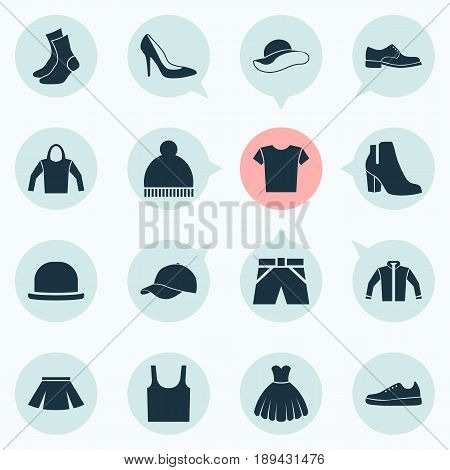 Garment Icons Set. Collection Of Trilby, Stylish Apparel, Beanie And Other Elements. Also Includes Symbols Such As Shirt, Casual, Singlet.