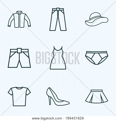 Garment Outline Icons Set. Collection Of Mini, Underpants, Cardigan And Other Elements. Also Includes Symbols Such As Boots, Skirt, Headgear.