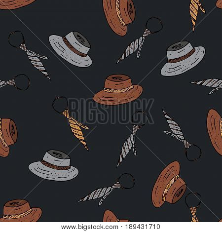 Seamless vector pattern with doodle man symbols. Doodle illustration with hat and tie.