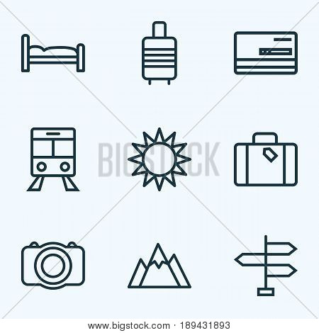 Traveling Outline Icons Set. Collection Of Credit, Video, Suitcase And Other Elements. Also Includes Symbols Such As Mount, Credit, Front.