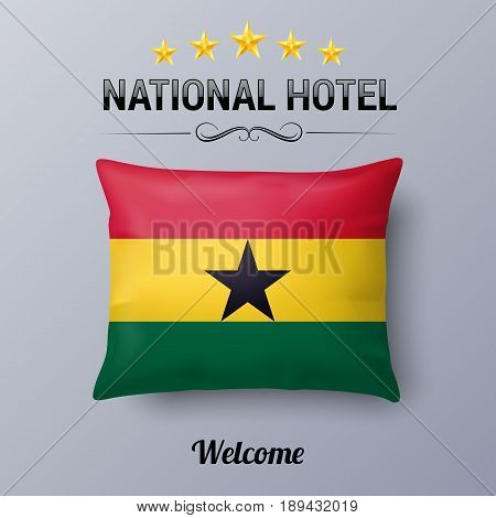 Realistic Pillow and Flag of Ghana as Symbol National Hotel. Flag Pillow Cover with Ghanaian flag