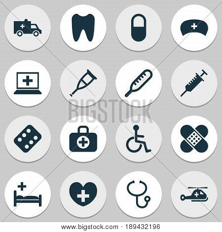 Drug Icons Set. Collection Of Polyclinic, Bandage, Database Elements. Also Includes Symbols Such As Care, Bandage, Tooth.