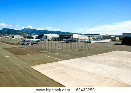 Honolulu, Hawaii - December 5, 2013: small piston aircraft being readied for flight