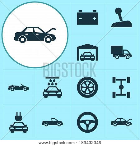 Auto Icons Set. Collection Of Accumulator, Wheel, Wheelbase And Other Elements. Also Includes Symbols Such As Tire, Auto, Accumulator.