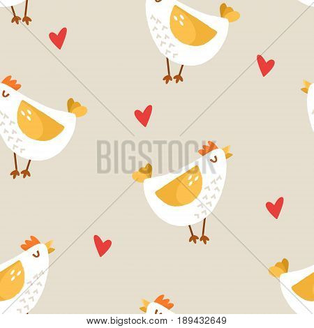 Seamless pattern with cartoon chicken and hearts on beige background. Ornament for textile and wrapping. Vector.