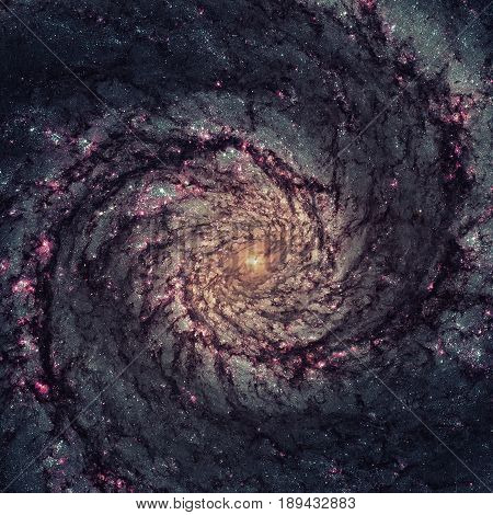 Whirlpool Galaxy. Light From The Emission Of Glowing Hydrogen.