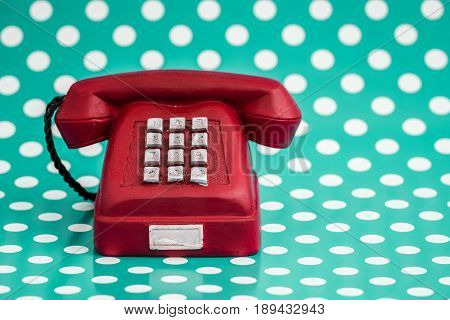 Decorative Red Telephone With Retro Look