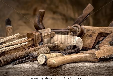 Vintage stylized hdr photo of old joinery tools