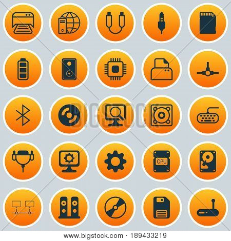 Hardware Icons Set. Collection Of Aux Cord, Vga Cord, Router And Other Elements. Also Includes Symbols Such As Mechanism, Dskette, Internet.