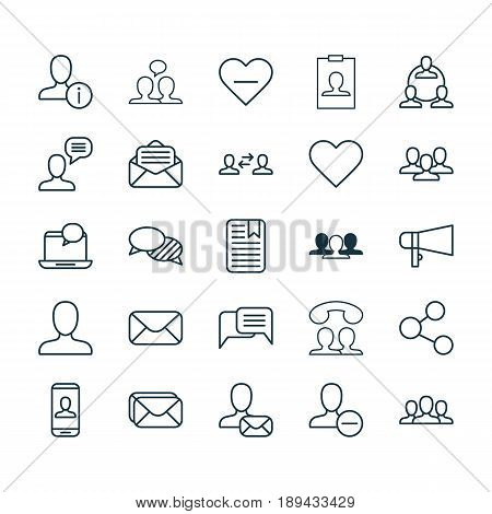 Social Network Icons Set. Collection Of Read Message, Remove User, Society And Other Elements. Also Includes Symbols Such As Bullhorn, Profile, Identity.