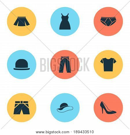 Garment Icons Set. Collection Of Trunks Cloth, Stylish Apparel, Heel Footwear And Other Elements. Also Includes Symbols Such As Casual, Headgear, Apparel.