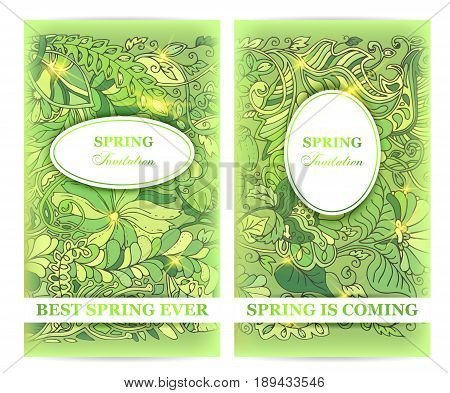Spring invitation flyers, with spring is coming, best spring ever text, light fresh design with greenery and floral leaves doodle elements for greeting card or festive poster, vector
