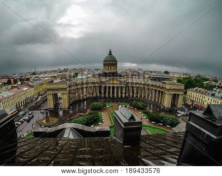 Panoramic view from rooftop to Kazan Cathedral in St Petersburg, Russia