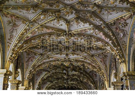 HILLEROD, DENMARK - JUNE 30, 2016: This is the vault of the nave of the palace church in the Frederiksborg Castle.