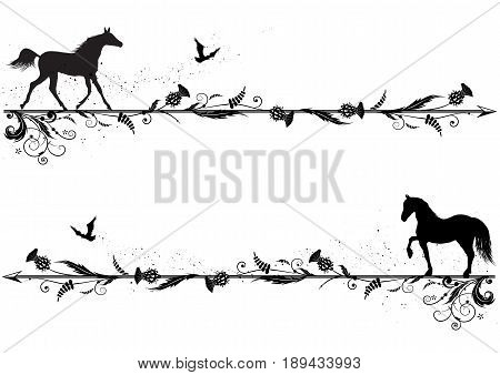 set of vector dividers with horses riven and thistle in black and white