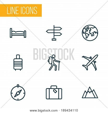 Traveling Outline Icons Set. Collection Of Arrows, Earth, Plane And Other Elements. Also Includes Symbols Such As Mountain, Backpack, Traveler.