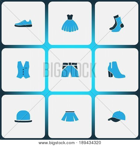 Clothes Colorful Icons Set. Collection Of Female Boots, Shorts, Vest And Other Elements. Also Includes Symbols Such As Briefs, Panties, Gown.