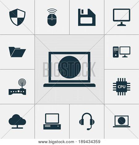 Computer Icons Set. Collection Of Diskette, Tree, Computer Mouse And Other Elements. Also Includes Symbols Such As Mouse, Online, Computer.