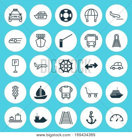 Delivery Icons Set. Collection Of Boat Helm, Cruise, College Transport And Other Elements. Also Includes Symbols Such As Baggage, Landing, Barrier.