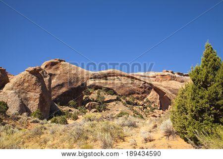 Landscape Arch in Arches National Park, Utah.