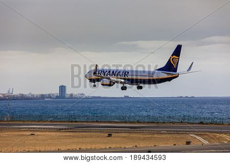 Arecife, Spain - April, 15 2017: Boeing 737-800 Of Ryanair Landing At Lanzarote Airport