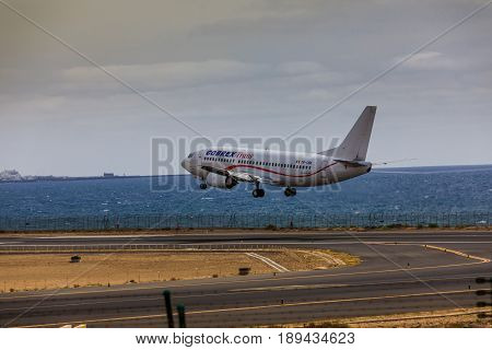 Arecife, Spain - April, 15 2017: Boeing 737 - 300 Of Cobrex Trans Landing At Lanzarote Airport