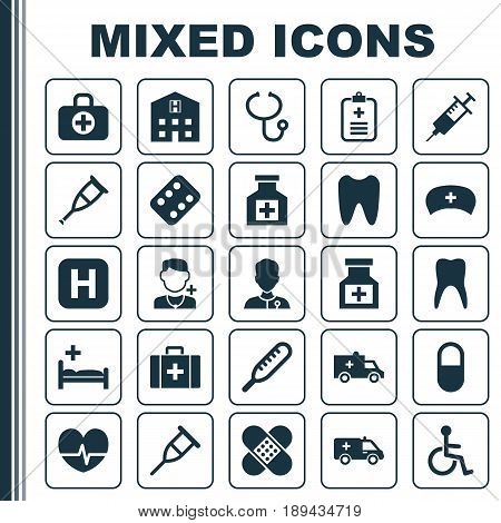 Drug Icons Set. Collection Of Pellet, Chest, Spike And Other Elements. Also Includes Symbols Such As Nurse, Infirmary, Healer.