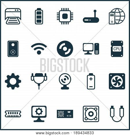 Computer Icons Set. Collection Of Internet Network, Web Camera, Dynamic Memory And Other Elements. Also Includes Symbols Such As Connectivity, Router, Disc.