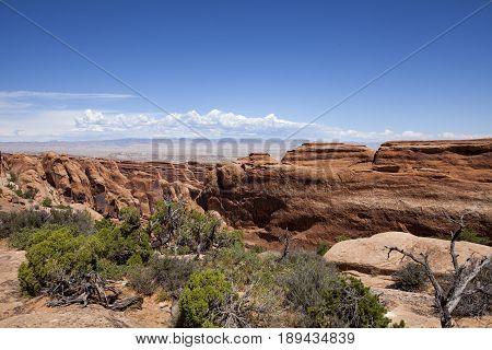 The stone desert landscape in Arches National Park near Moab in Utah