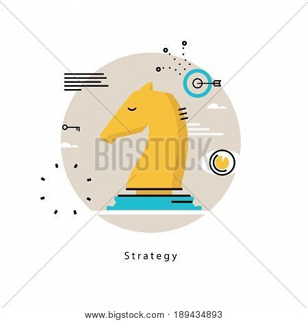 Strategic planning and business strategy flat vector illustration design. Success in business, leadership, business management design for mobile and web graphics