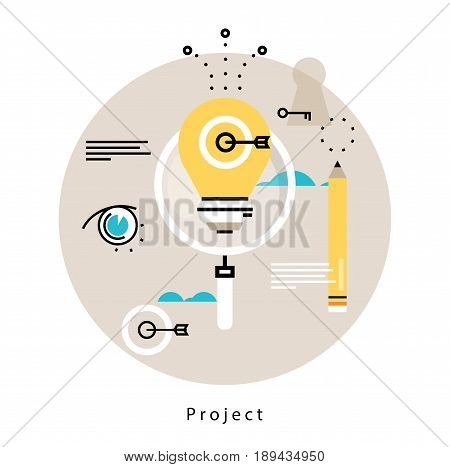 Project management flat vector illustration design. Monitoring, evaluation, control design for mobile and web graphics