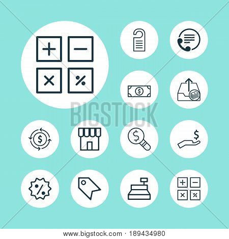 Ecommerce Icons Set. Collection Of Business Inspection, Rebate Sign, Till And Other Elements. Also Includes Symbols Such As Shop, Calculator, Inspection.