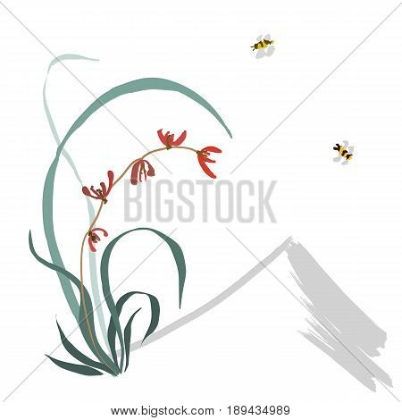 Hand-drawing ink illustration, vector stylization. Wild orchid, red flowers. Background from the mountain, flying bumblebee. Japanese painting style sumi-e. Traditional Chinese painting gohua.