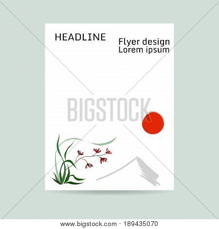 Flyer design. Letter format. Wild orchid, red flowers. Background of mountain and red sun. Japanese painting style sumi-e. Traditional Chinese painting gohua. Hand-drawing ink illustration, vector stylization.