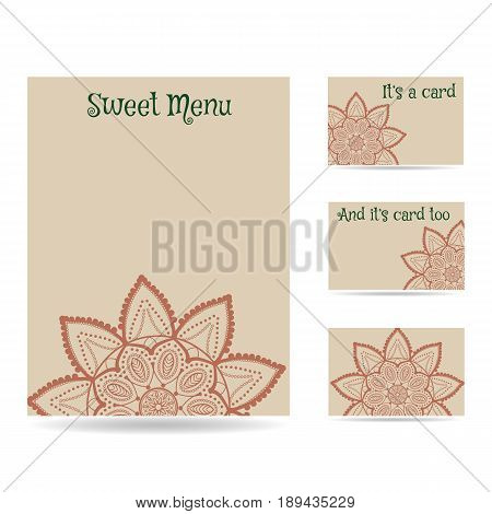 Set of blank templates. Business cards and letterhead paper. Mandala pattern