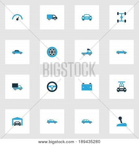 Auto Colorful Icons Set. Collection Of Steering Wheel, Garage, Battery And Other Elements. Also Includes Symbols Such As Accumulator, Chassis, Sedan.