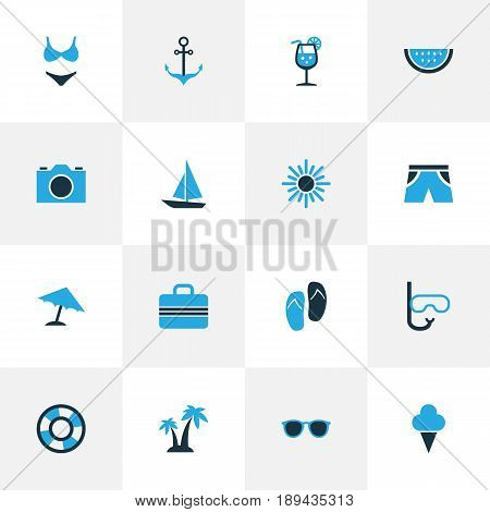 Hot Colorful Icons Set. Collection Of Umbrella, Sun, Sailing And Other Elements. Also Includes Symbols Such As Parasol, Melon, Lifebuoy.