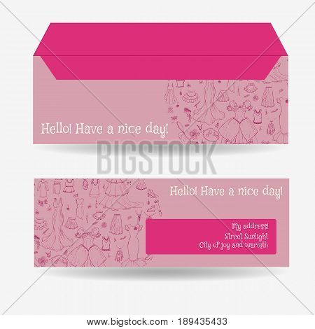 Envelopes for letters, front and back. Fashion pattern, various clothing items and accessories