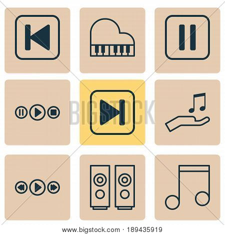 Audio Icons Set. Collection Of Note, Sound Box, Octave And Other Elements. Also Includes Symbols Such As Button, Melody, Sell.