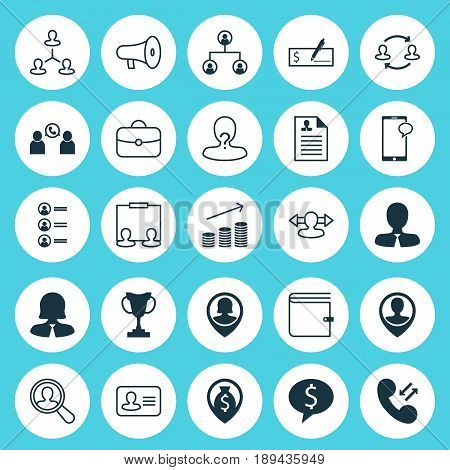 Hr Icons Set. Collection Of Messaging, Curriculum Vitae, Business Deal And Other Elements. Also Includes Symbols Such As Mobile, Conference, Direction.