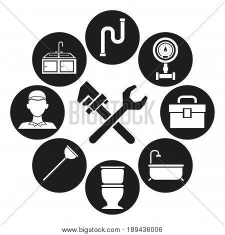 black silhouette set icons plumbing with wrench tools cross vector illustration