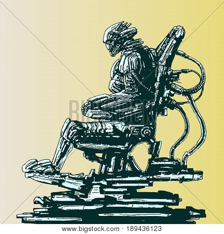 Spaceman invader sits in suit on his iron throne. Science fiction original character. Vector illustration. poster