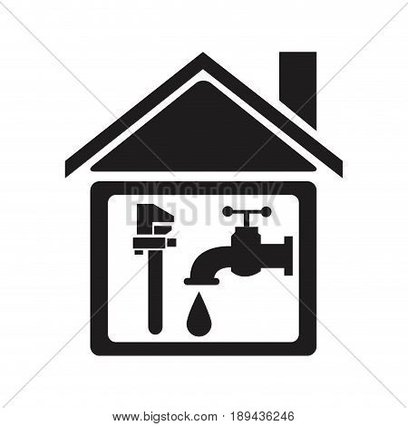 black silhouette house with faucet and wrench element of plumbing vector illustration