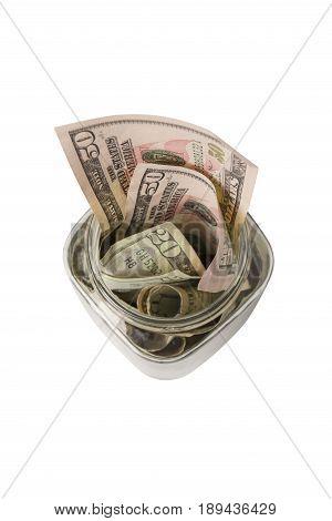 Small Tip Jar Stuffed With Money - Overhead